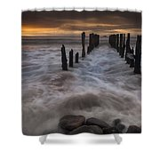 Old Wharf At Sunrise Saint Clair Beach Shower Curtain