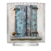 Old Window With Blue Shutte Shower Curtain