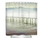 Old Wooden Bridge Into A Mountain Lake On A Foggy Morning Shower Curtain