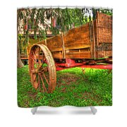 Old Wooden Cart Shower Curtain