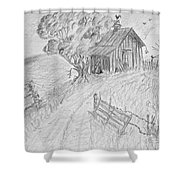 Old Woodshed II Shower Curtain by Debbie Portwood