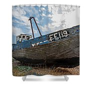 Old Wrecked Fishing Boat Shower Curtain