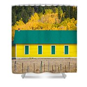 Old Yellow School House With Autumn Colors Shower Curtain
