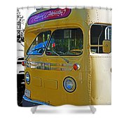 Old Yellow Transit Bus Abstract Shower Curtain