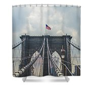 Ole Glory Over Brooklyn Bridge Shower Curtain