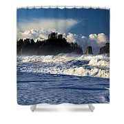 Olympic Ocean Swirls Shower Curtain