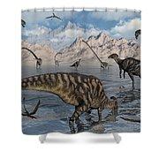 Omeisaurus And Parasaurolphus Dinosaurs Shower Curtain