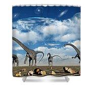 Omeisaurus Dinosaurs Are Startled Shower Curtain