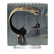Omeisaurus Sauropod Dinosaurs Cooling Shower Curtain