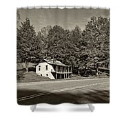 On A West Virginia Road Sepia Shower Curtain