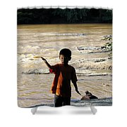 On The Bank Of The River Shower Curtain