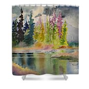 On The Colourful Pond Shower Curtain