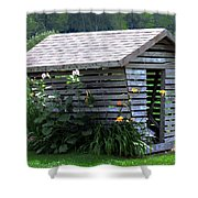On The Farm - Corn Crib Shower Curtain