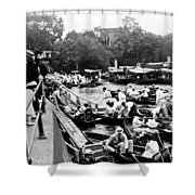 On The River Thames - Waiting For The Locks To Open - C 1902 Shower Curtain