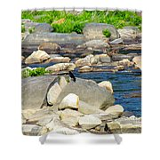 On The Rock Shower Curtain by Randi Shenkman