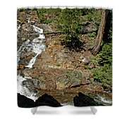 On The Rocks Glen Alpine Creek And Falls Shower Curtain