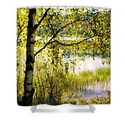 On The Shore Of The Loch Achray. Scotland Shower Curtain
