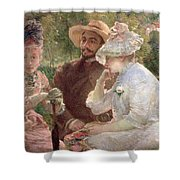 On The Terrace At Sevres Shower Curtain by Marie Bracquemond