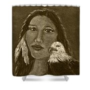 Onawa Native American Woman Of Wisdom With Eagle In Sepia Shower Curtain by The Art With A Heart By Charlotte Phillips