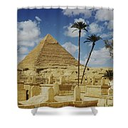 One Of The Pyramids Seen Behind An Arab Shower Curtain