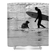 One Surfer And His Dog Shower Curtain