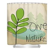 One With Nature Shower Curtain by Linda Woods