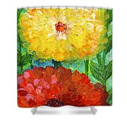 One Yellow One Red And Orange Flower Shines Shower Curtain