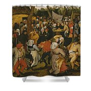 Open Air Wedding Dance Shower Curtain by Pieter the Younger Brueghel