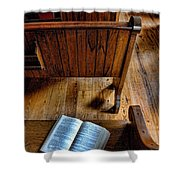 Open Book On Church Pew Shower Curtain