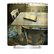 Open Book On Old Table Shower Curtain