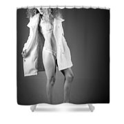 Open Coat In Bw Shower Curtain