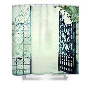 Open Iron Gate In Fog Shower Curtain