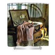 Open Vintage Suitcase With Letter And Lace Shower Curtain