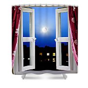 Open Window At Night Shower Curtain