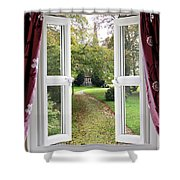 Open Window To A Church Garden Shower Curtain