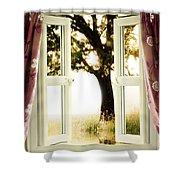 Open Window To Tree Shower Curtain