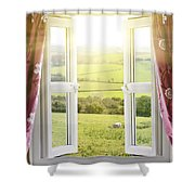 Open Window With Countryside View Shower Curtain