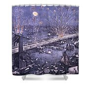 Opening Of The Great New York And Brooklyn Bridge And Grand Display Of Fire Works Shower Curtain