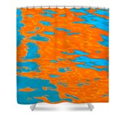 Orange And Blue Reflection In Water. Shower Curtain