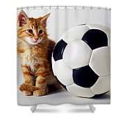 Orange And White Kitten With Soccor Ball Shower Curtain
