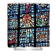 Orange Blue Stained Glass Window Shower Curtain by Thomas Woolworth