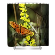 Orange Butterfly On Yellow Wildflower Shower Curtain