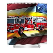 Orange Fire Auth T43 Shower Curtain