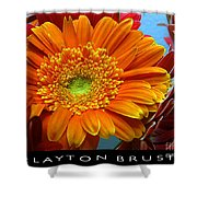 Orange Floral Shower Curtain
