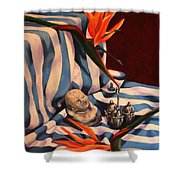 Orange Flowers And Blue Cloth Shower Curtain