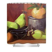 Orange Pears Shower Curtain