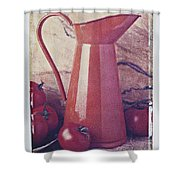 Orange Pitcher And Tomatoes Shower Curtain