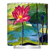 Orchid With Blue Bird Shower Curtain