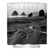 Oregon Coast Black And White Shower Curtain