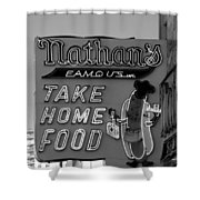 Original Nathan's In Black And White  Shower Curtain